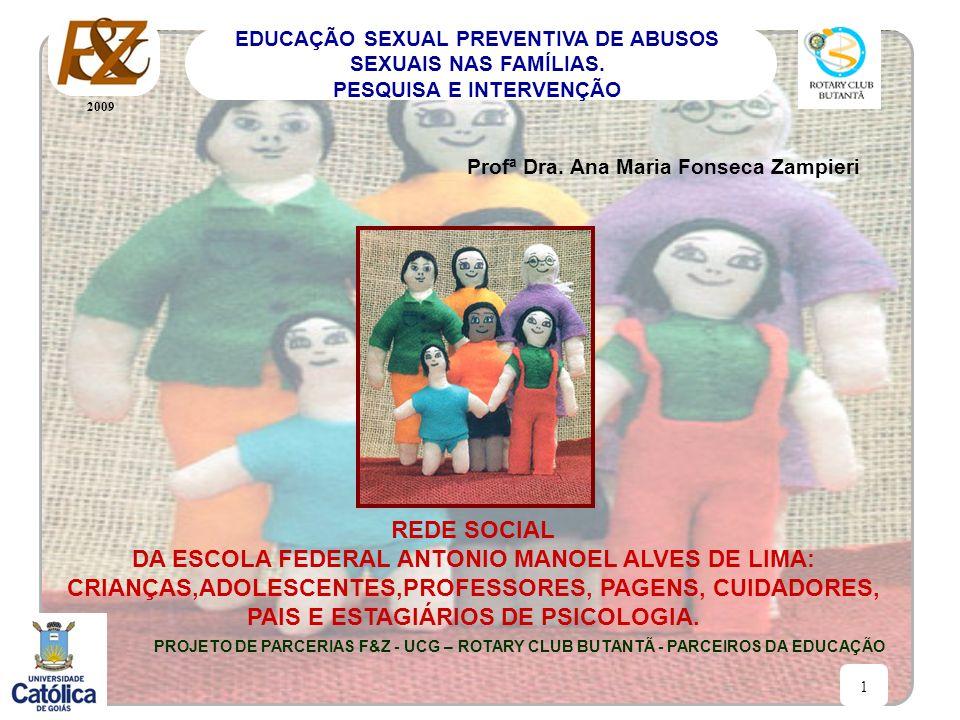 2009 1 EDUCAÇÃO SEXUAL PREVENTIVA DE ABUSOS SEXUAIS NAS FAMÍLIAS. PESQUISA E INTERVENÇÃO Profª Dra. Ana Maria Fonseca Zampieri REDE SOCIAL DA ESCOLA F