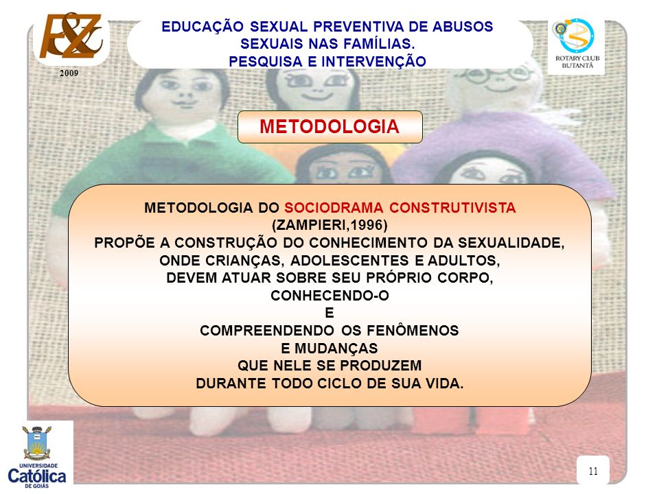 2009 11 EDUCAÇÃO SEXUAL PREVENTIVA DE ABUSOS SEXUAIS NAS FAMÍLIAS. PESQUISA E INTERVENÇÃO METODOLOGIA METODOLOGIA DO SOCIODRAMA CONSTRUTIVISTA (ZAMPIE