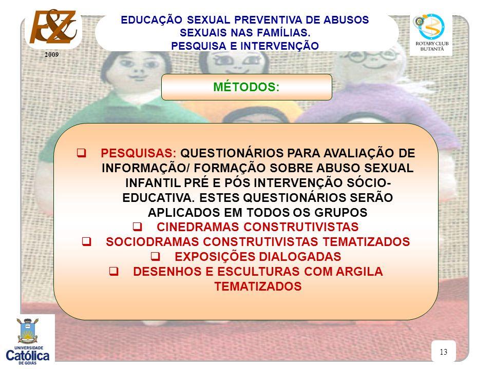 2009 13 EDUCAÇÃO SEXUAL PREVENTIVA DE ABUSOS SEXUAIS NAS FAMÍLIAS. PESQUISA E INTERVENÇÃO PESQUISAS: QUESTIONÁRIOS PARA AVALIAÇÃO DE INFORMAÇÃO/ FORMA