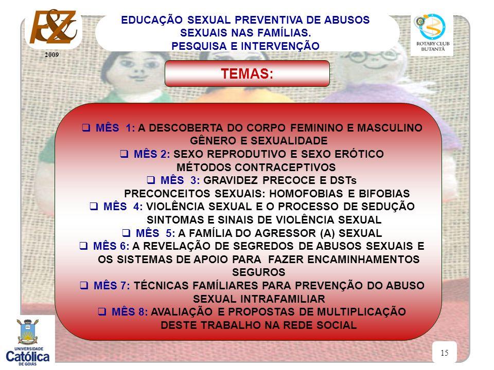2009 15 EDUCAÇÃO SEXUAL PREVENTIVA DE ABUSOS SEXUAIS NAS FAMÍLIAS. PESQUISA E INTERVENÇÃO MÊS 1: A DESCOBERTA DO CORPO FEMININO E MASCULINO GÊNERO E S