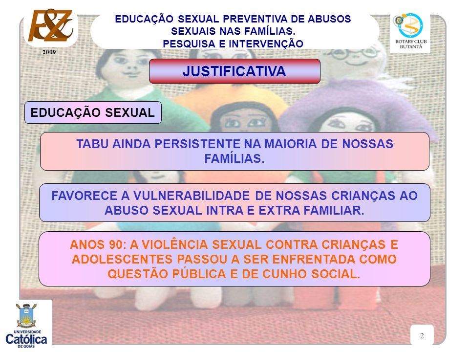 2009 2 EDUCAÇÃO SEXUAL PREVENTIVA DE ABUSOS SEXUAIS NAS FAMÍLIAS. PESQUISA E INTERVENÇÃO JUSTIFICATIVA EDUCAÇÃO SEXUAL TABU AINDA PERSISTENTE NA MAIOR