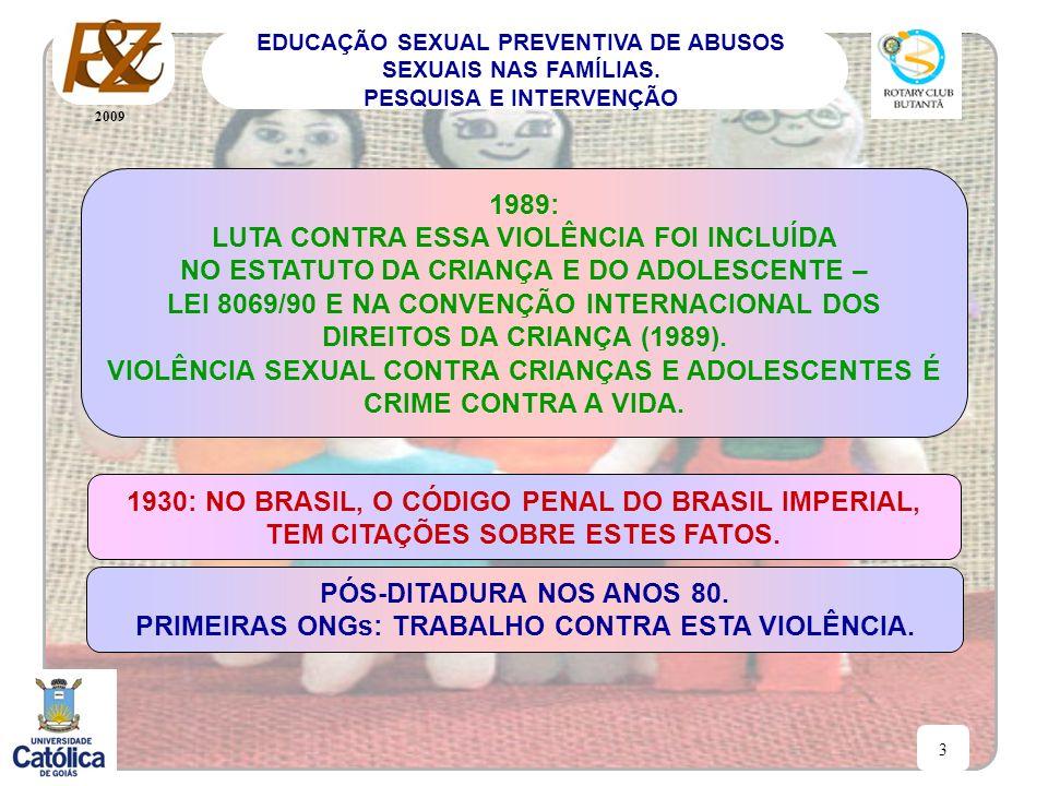 2009 3 EDUCAÇÃO SEXUAL PREVENTIVA DE ABUSOS SEXUAIS NAS FAMÍLIAS. PESQUISA E INTERVENÇÃO 1989: LUTA CONTRA ESSA VIOLÊNCIA FOI INCLUÍDA NO ESTATUTO DA