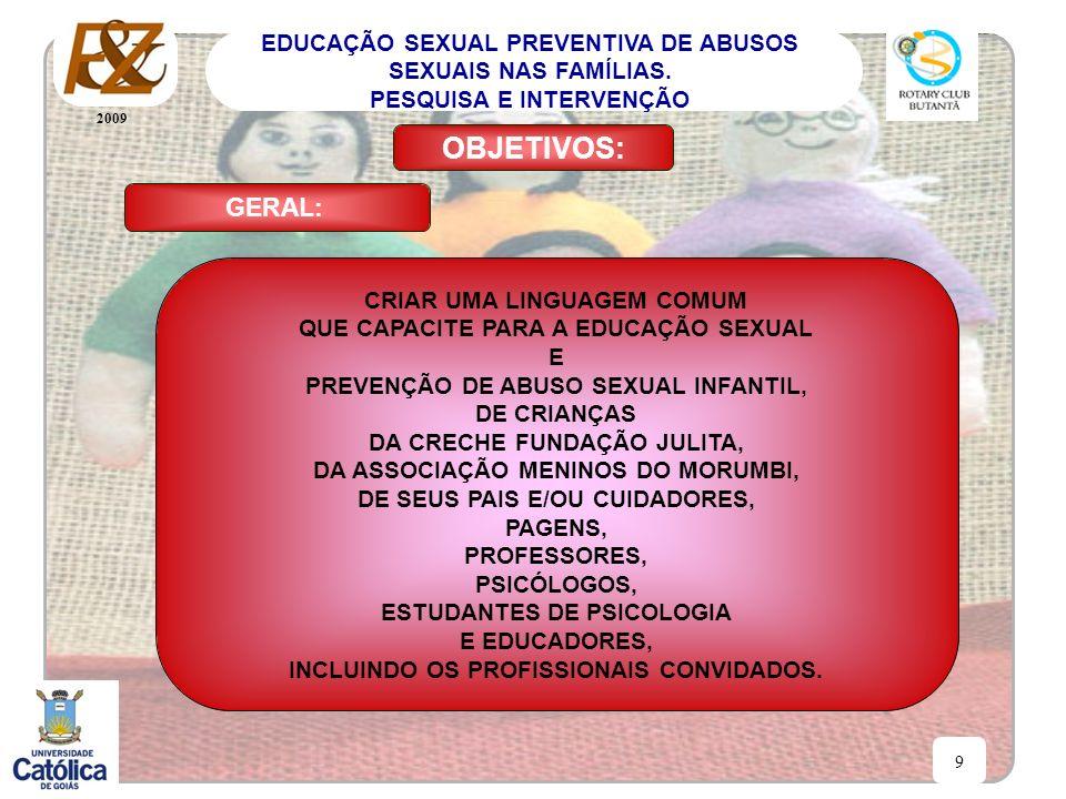 2009 9 EDUCAÇÃO SEXUAL PREVENTIVA DE ABUSOS SEXUAIS NAS FAMÍLIAS. PESQUISA E INTERVENÇÃO GERAL: OBJETIVOS: CRIAR UMA LINGUAGEM COMUM QUE CAPACITE PARA
