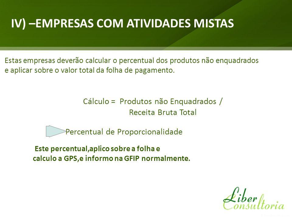 IV) –EMPRESAS COM ATIVIDADES MISTAS Estas empresas deverão calcular o percentual dos produtos não enquadrados e aplicar sobre o valor total da folha de pagamento.