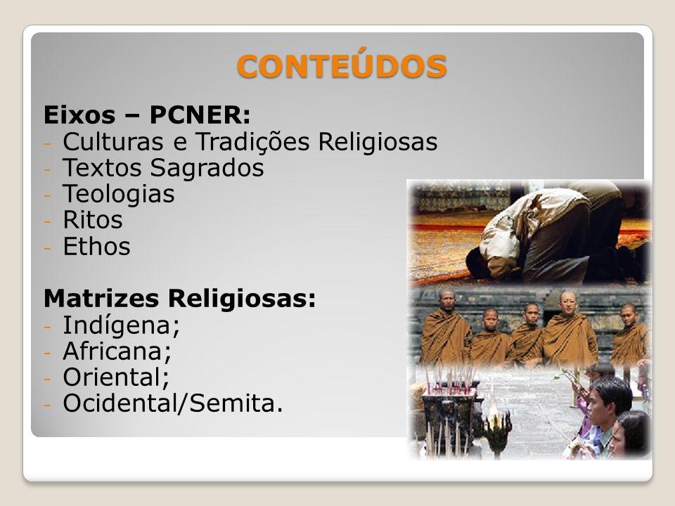 CONTEÚDOS CONTEÚDOS Eixos – PCNER: - Culturas e Tradições Religiosas - Textos Sagrados - Teologias - Ritos - Ethos Matrizes Religiosas: - Indígena; -