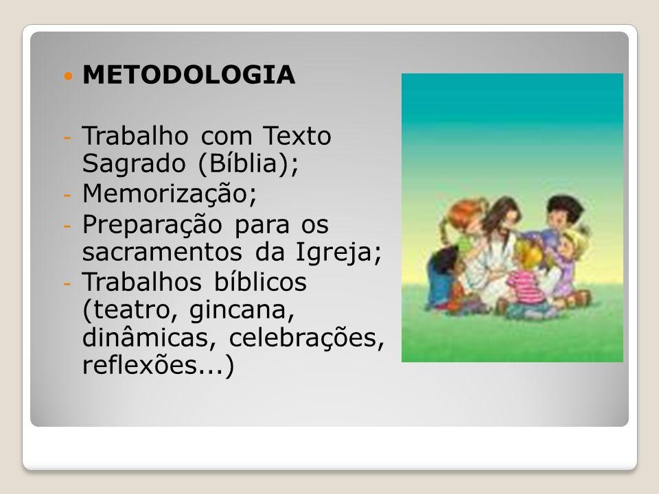 METODOLOGIA - Trabalho com Texto Sagrado (Bíblia); - Memorização; - Preparação para os sacramentos da Igreja; - Trabalhos bíblicos (teatro, gincana, d