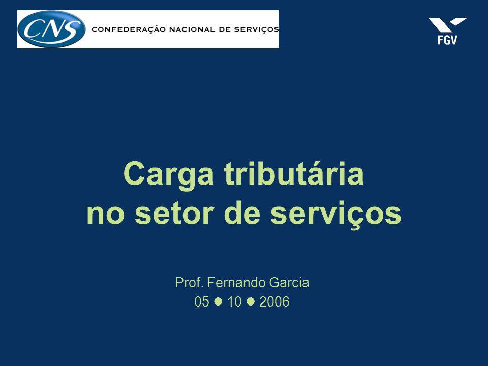 Carga tributária no setor de serviços Prof. Fernando Garcia 05 10 2006