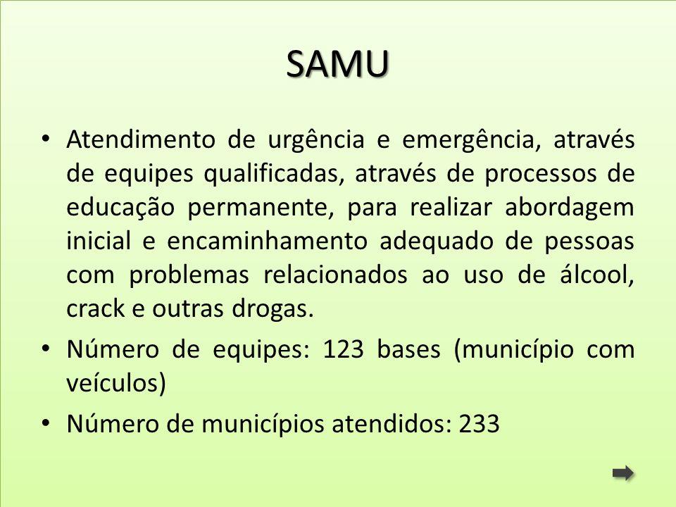 SAMU Atendimento de urgência e emergência, através de equipes qualificadas, através de processos de educação permanente, para realizar abordagem inici