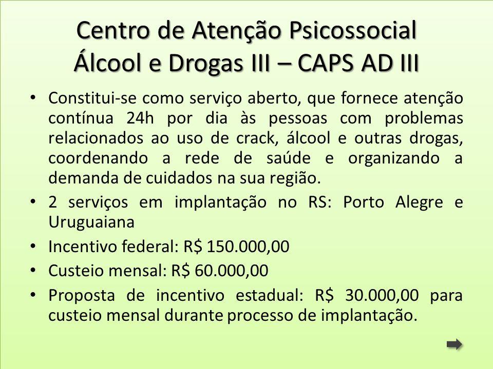 Centro de Atenção Psicossocial Álcool e Drogas III – CAPS AD III Constitui-se como serviço aberto, que fornece atenção contínua 24h por dia às pessoas