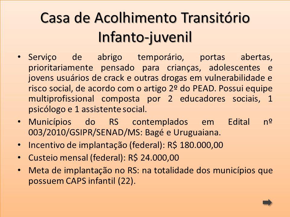 Casa de Acolhimento Transitório Infanto-juvenil Serviço de abrigo temporário, portas abertas, prioritariamente pensado para crianças, adolescentes e j