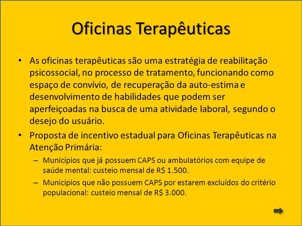 Oficinas Terapêuticas As oficinas terapêuticas são uma estratégia de reabilitação psicossocial, no processo de tratamento, funcionando como espaço de