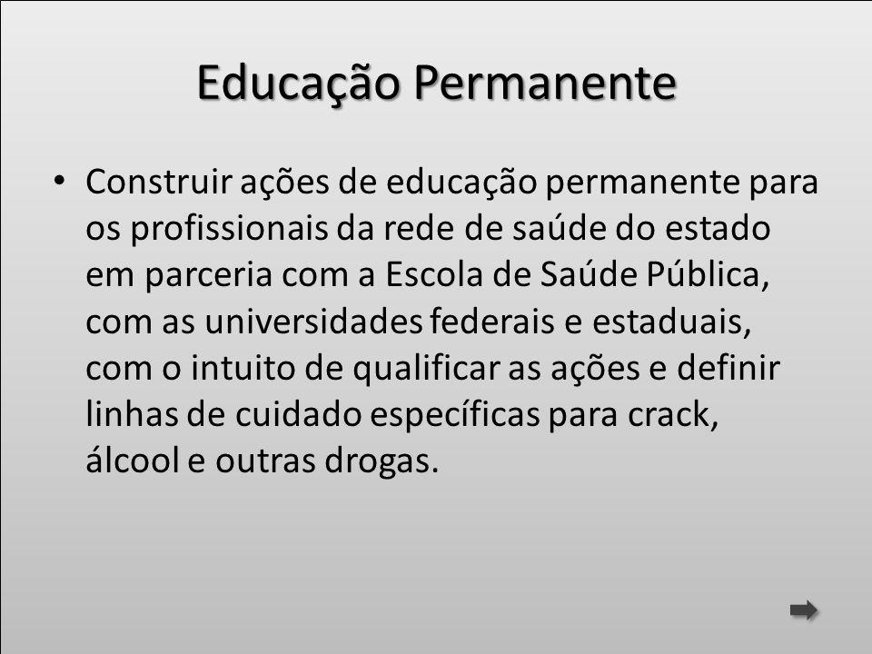 Educação Permanente Construir ações de educação permanente para os profissionais da rede de saúde do estado em parceria com a Escola de Saúde Pública,
