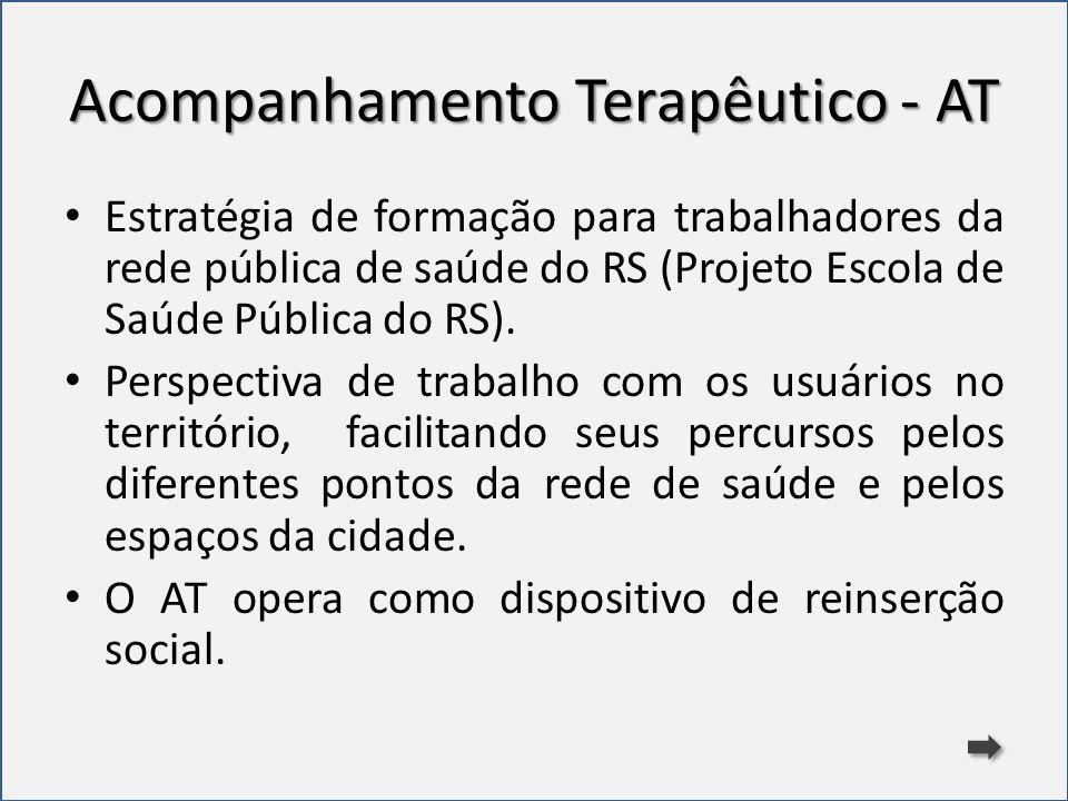 Acompanhamento Terapêutico - AT Estratégia de formação para trabalhadores da rede pública de saúde do RS (Projeto Escola de Saúde Pública do RS). Pers