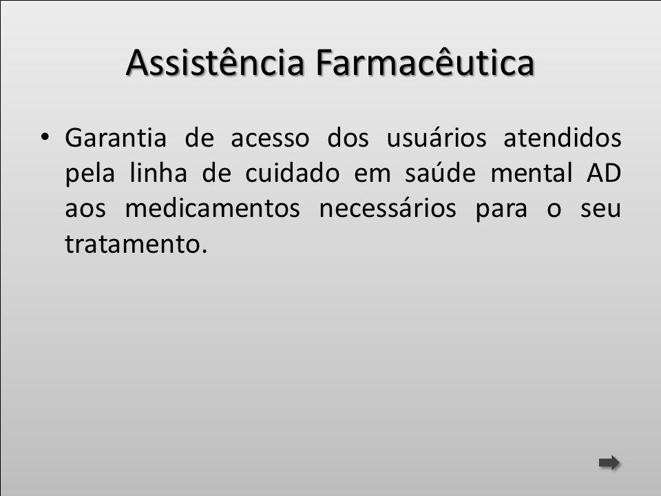 Assistência Farmacêutica Garantia de acesso dos usuários atendidos pela linha de cuidado em saúde mental AD aos medicamentos necessários para o seu tr