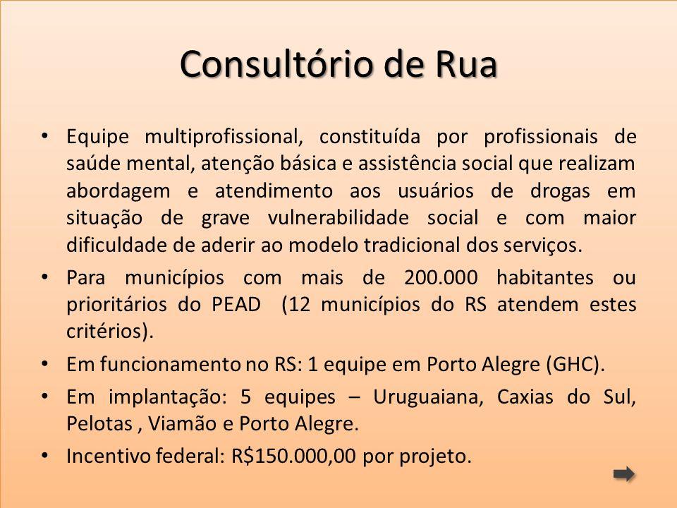 Consultório de Rua Equipe multiprofissional, constituída por profissionais de saúde mental, atenção básica e assistência social que realizam abordagem