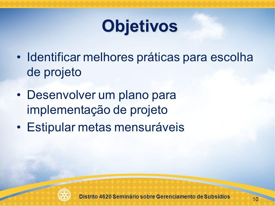 Distrito 4620 Seminário sobre Gerenciamento de Subsídios 11 Projetos Bem-Sucedidos Necessidades reais da comunidade Comunicação constante entre os parceiros Plano de implementação Projetos sustentáveis Gestão responsável dos fundos