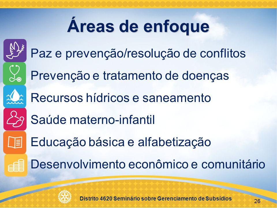 Distrito 4620 Seminário sobre Gerenciamento de Subsídios 27 Paz e prevenção/resolução de conflitos Metas Fortalecer os esforços locais de paz.