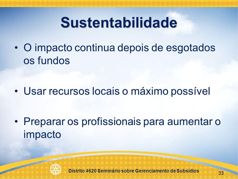 Distrito 4620 Seminário sobre Gerenciamento de Subsídios 34 Proposta Identificação das necessidades da comunidade Atividades e resultados esperados Como o projeto apoia as áreas de enfoque Orçamento geral