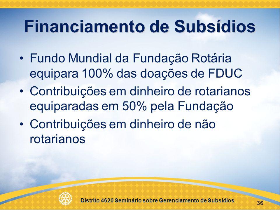 Distrito 4620 Seminário sobre Gerenciamento de Subsídios 37 Diretrizes de financiamento Contribuições coletadas por rotarianos Fundos não podem ser coletados de beneficiários para tentar receber o subsídio Os fundos não podem vir de outros subsídios Contribuições creditadas em nome do doador