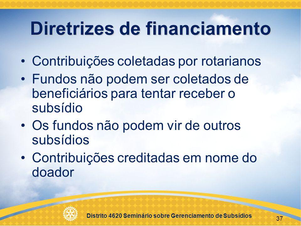 Distrito 4620 Seminário sobre Gerenciamento de Subsídios 38 Implementação Manter boa comunicação Usar sistema de gerenciamento financeiro Manter registros Seguir o plano original