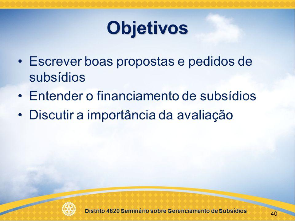 Distrito 4620 Seminário sobre Gerenciamento de Subsídios 41 Sessão 3 Supervisão e envio de relatórios EGD 2000-01 – Luiz Paes de Camargo