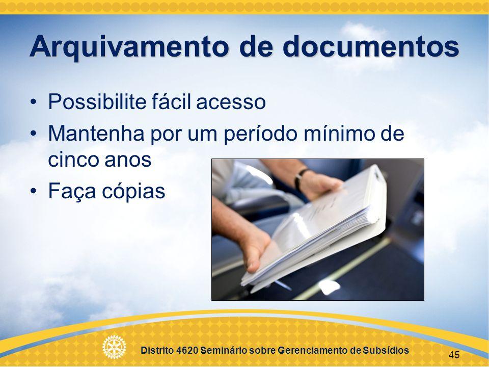 Distrito 4620 Seminário sobre Gerenciamento de Subsídios 46 Relatórios de Subsídio Distrital >