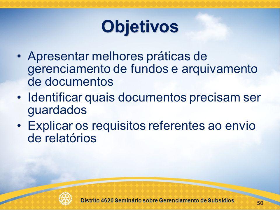 Distrito 4620 Seminário sobre Gerenciamento de Subsídios 51 Sessão 4 Qualificação