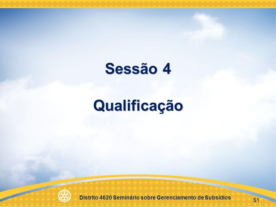 Distrito 4620 Seminário sobre Gerenciamento de Subsídios 52 Objetivos Entender os requisitos da qualificação Administrar a qualificação do seu clube