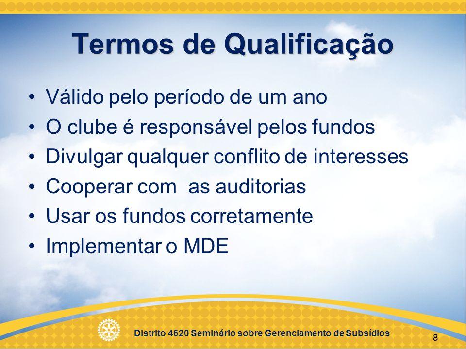 Distrito 4620 Seminário sobre Gerenciamento de Subsídios 9 Sessão 1 Criação de projeto EGD 2010-11 – José Carlos Miguel