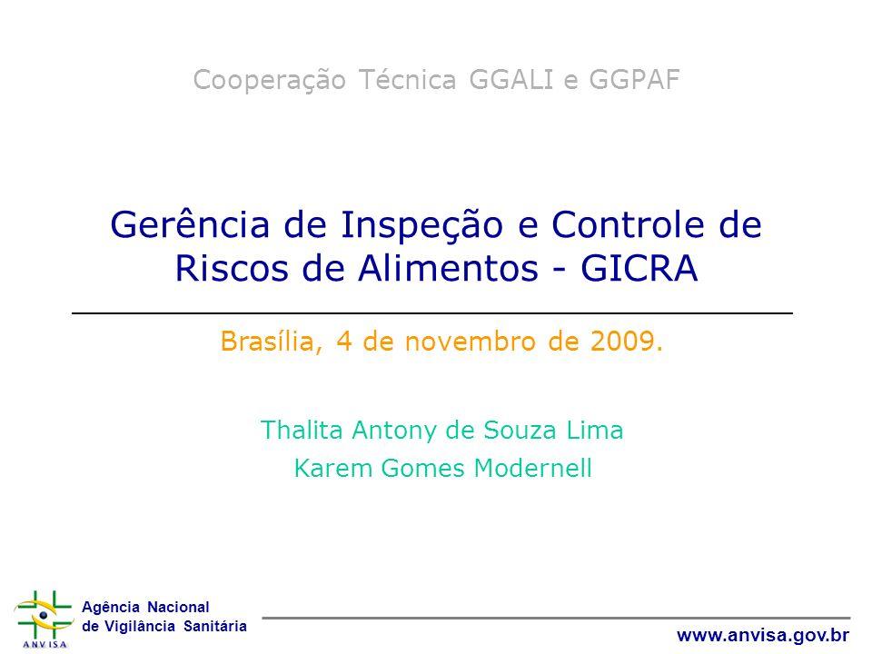 Agência Nacional de Vigilância Sanitária www.anvisa.gov.br Cooperação Técnica GGALI e GGPAF Gerência de Inspeção e Controle de Riscos de Alimentos - G