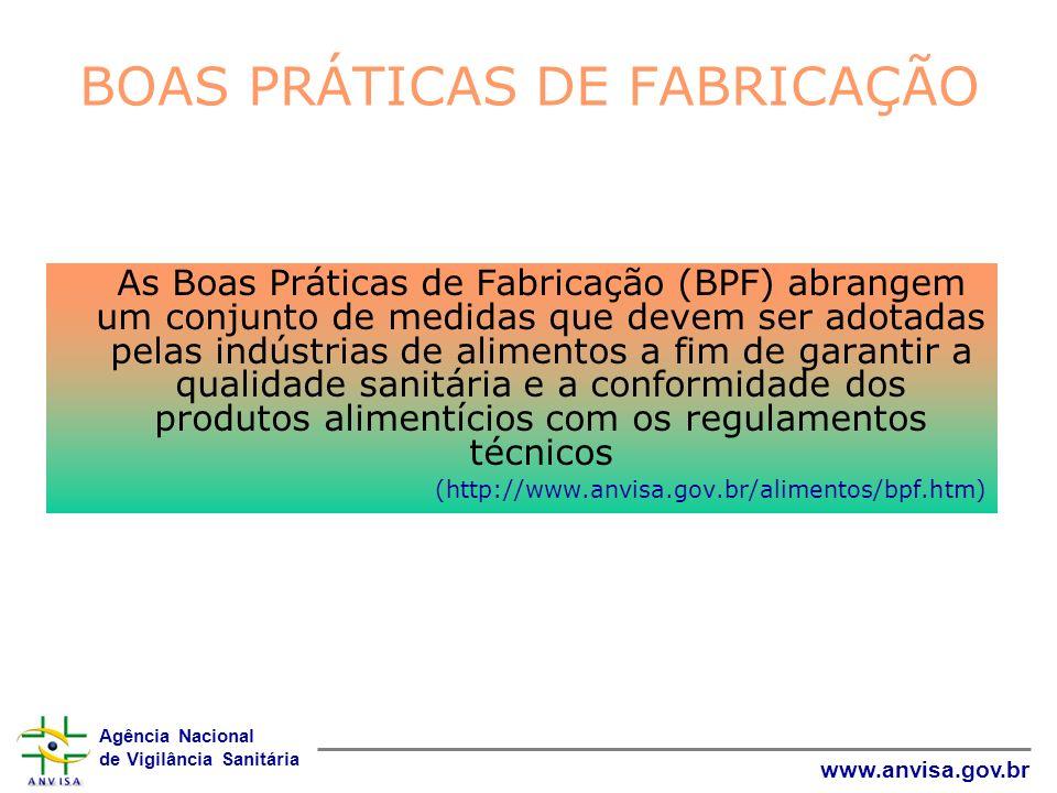 Agência Nacional de Vigilância Sanitária www.anvisa.gov.br BOAS PRÁTICAS DE FABRICAÇÃO As Boas Práticas de Fabricação (BPF) abrangem um conjunto de me