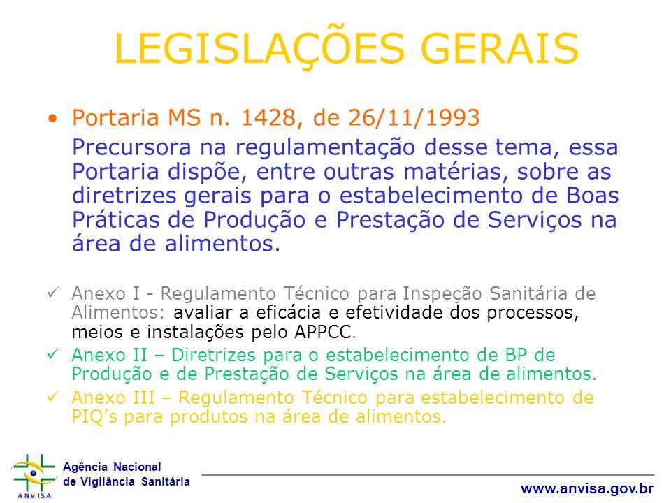 Agência Nacional de Vigilância Sanitária www.anvisa.gov.br LEGISLAÇÕES GERAIS Portaria MS n. 1428, de 26/11/1993 Precursora na regulamentação desse te