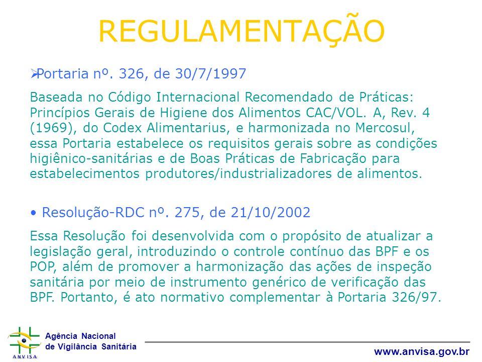 Agência Nacional de Vigilância Sanitária www.anvisa.gov.br REGULAMENTAÇÃO Portaria nº. 326, de 30/7/1997 Baseada no Código Internacional Recomendado d