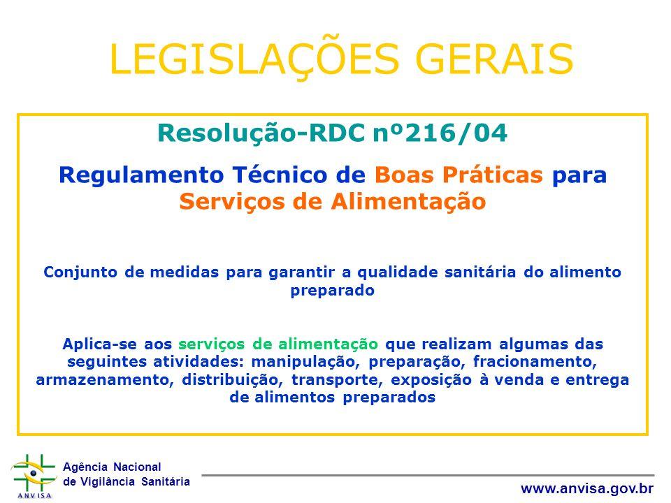 Agência Nacional de Vigilância Sanitária www.anvisa.gov.br Resolução-RDC nº216/04 Regulamento Técnico de Boas Práticas para Serviços de Alimentação Co
