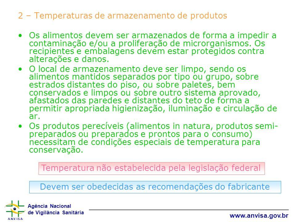 Agência Nacional de Vigilância Sanitária www.anvisa.gov.br 2 – Temperaturas de armazenamento de produtos Os alimentos devem ser armazenados de forma a