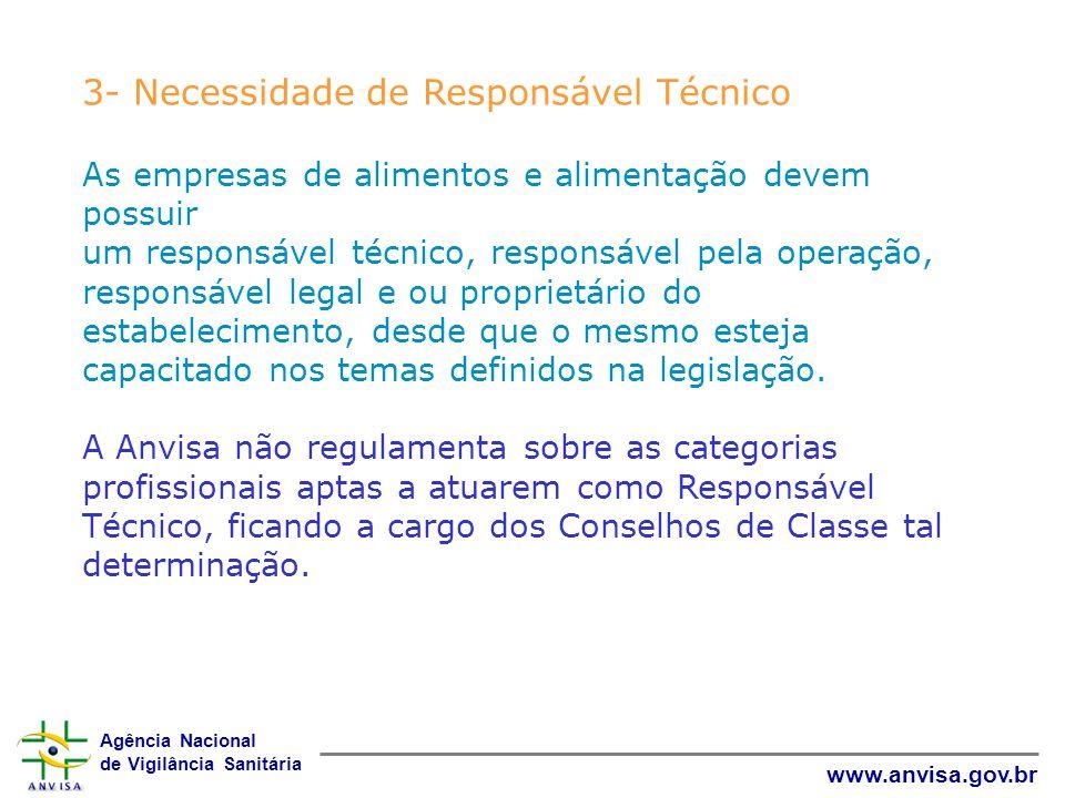 Agência Nacional de Vigilância Sanitária www.anvisa.gov.br 3- Necessidade de Responsável Técnico As empresas de alimentos e alimentação devem possuir