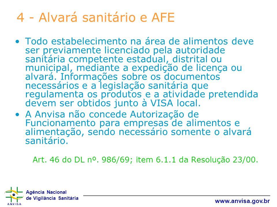 Agência Nacional de Vigilância Sanitária www.anvisa.gov.br 4 - Alvará sanitário e AFE Todo estabelecimento na área de alimentos deve ser previamente l