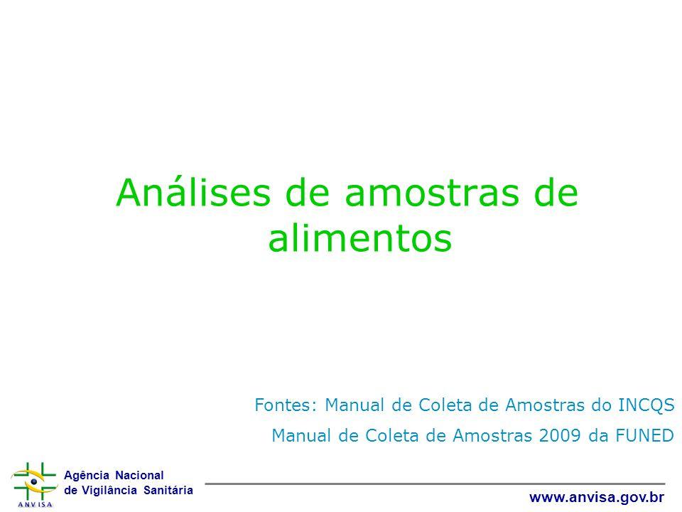 Agência Nacional de Vigilância Sanitária www.anvisa.gov.br Análises de amostras de alimentos Fontes: Manual de Coleta de Amostras do INCQS Manual de C