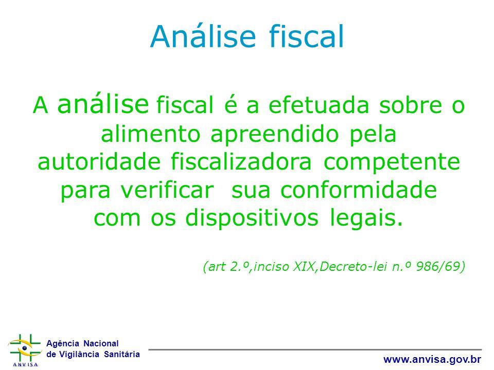 Agência Nacional de Vigilância Sanitária www.anvisa.gov.br Análise fiscal A análise fiscal é a efetuada sobre o alimento apreendido pela autoridade fi
