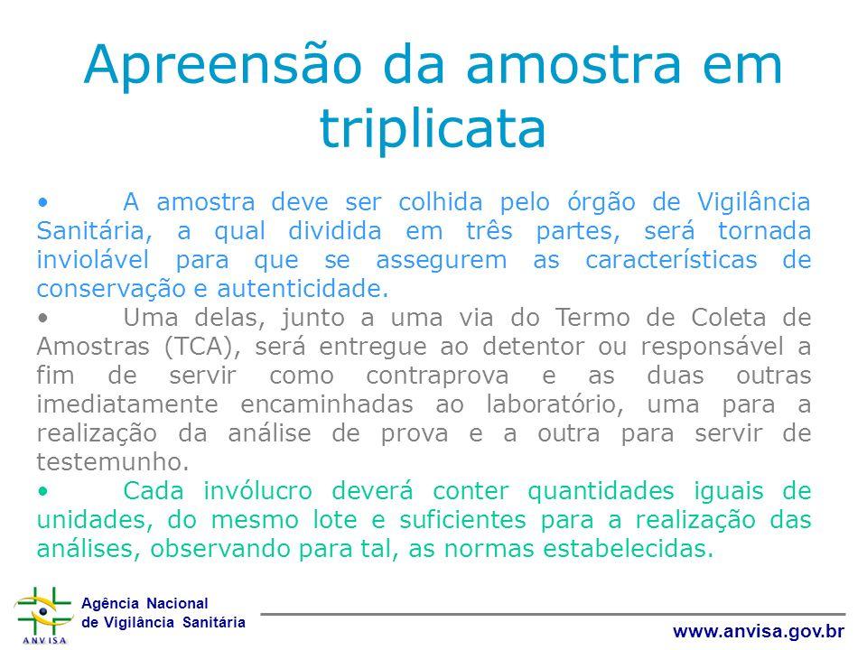Agência Nacional de Vigilância Sanitária www.anvisa.gov.br Apreensão da amostra em triplicata A amostra deve ser colhida pelo órgão de Vigilância Sani
