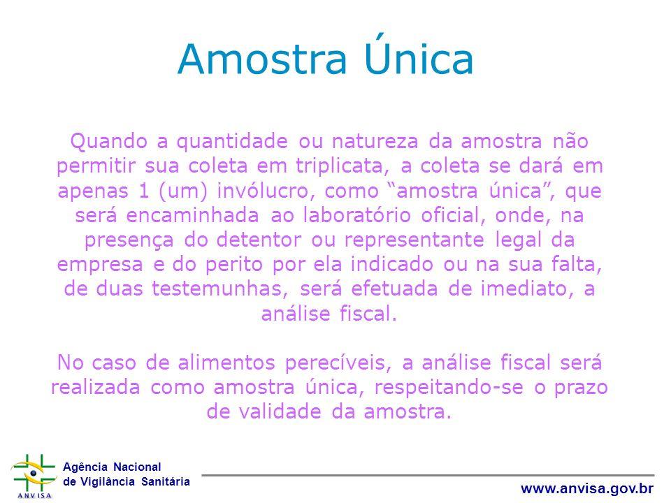 Agência Nacional de Vigilância Sanitária www.anvisa.gov.br Quando a quantidade ou natureza da amostra não permitir sua coleta em triplicata, a coleta
