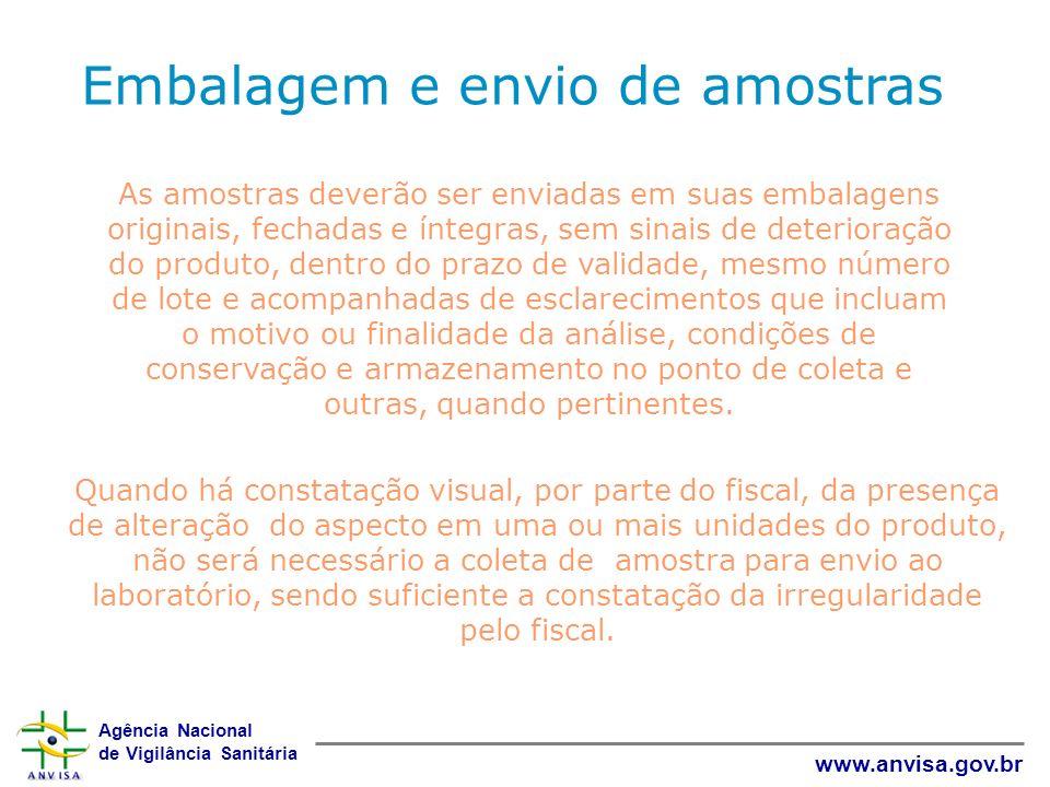 Agência Nacional de Vigilância Sanitária www.anvisa.gov.br As amostras deverão ser enviadas em suas embalagens originais, fechadas e íntegras, sem sin