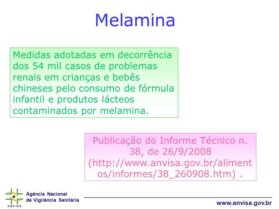 Agência Nacional de Vigilância Sanitária www.anvisa.gov.br Melamina Publicação do Informe Técnico n. 38, de 26/9/2008 (http://www.anvisa.gov.br/alimen