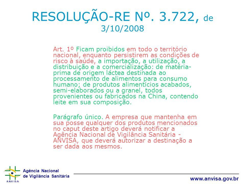 Agência Nacional de Vigilância Sanitária www.anvisa.gov.br RESOLUÇÃO-RE Nº. 3.722, de 3/10/2008 Art. 1º Ficam proibidos em todo o território nacional,