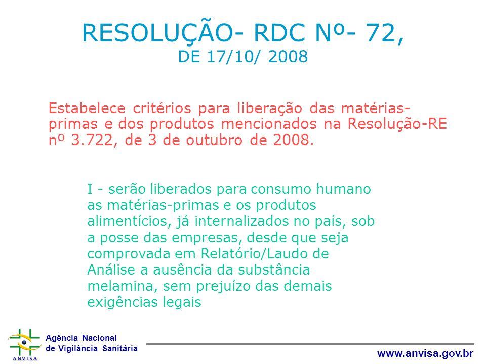 Agência Nacional de Vigilância Sanitária www.anvisa.gov.br RESOLUÇÃO- RDC Nº- 72, DE 17/10/ 2008 Estabelece critérios para liberação das matérias- pri