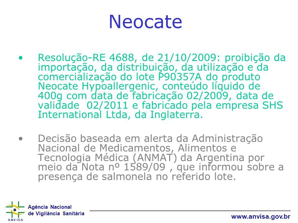 Agência Nacional de Vigilância Sanitária www.anvisa.gov.br Neocate Resolução-RE 4688, de 21/10/2009: proibição da importação, da distribuição, da util