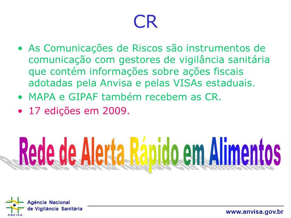 Agência Nacional de Vigilância Sanitária www.anvisa.gov.br CR As Comunicações de Riscos são instrumentos de comunicação com gestores de vigilância san