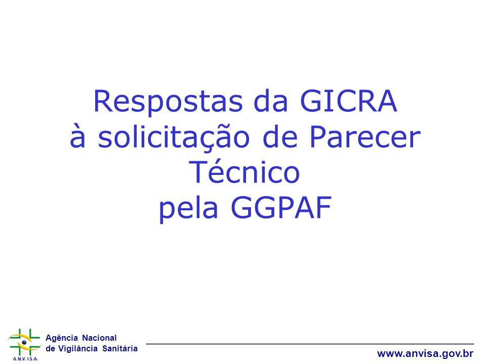 Agência Nacional de Vigilância Sanitária www.anvisa.gov.br Respostas da GICRA à solicitação de Parecer Técnico pela GGPAF