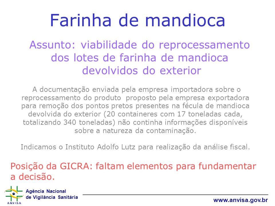 Agência Nacional de Vigilância Sanitária www.anvisa.gov.br Farinha de mandioca Assunto: viabilidade do reprocessamento dos lotes de farinha de mandioc