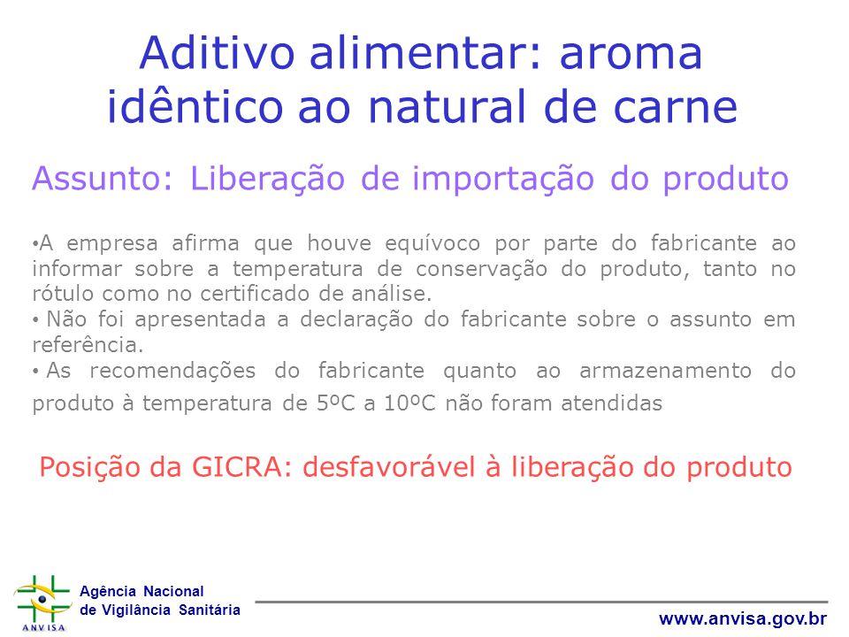 Agência Nacional de Vigilância Sanitária www.anvisa.gov.br Aditivo alimentar: aroma idêntico ao natural de carne Assunto: Liberação de importação do p
